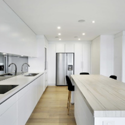 White Kitchen Wood Floor